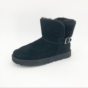 Ugg Karel Boots Sheepskin Suede Short Side Buckle